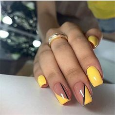 You will find best beauty products on Ange Beauty Acrylic Nail Designs, Nail Art Designs, Nail Manicure, Gel Nails, Cute Nails, Pretty Nails, Acrylic Nails Coffin Glitter, Yellow Nails Design, Nails Design With Rhinestones