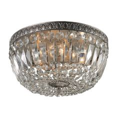 Flush-mount with crystal beaded shade