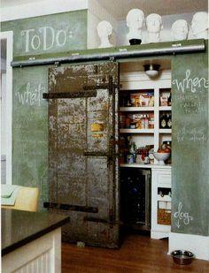 Rusted Industrial Door and green black board wall