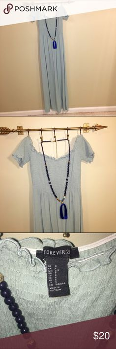 Forever21 Off the Shoulder Smocked Maxi Dress SM New without tags. Great fit! Bundle 2 or more items and get 20% off! Forever 21 Dresses Maxi