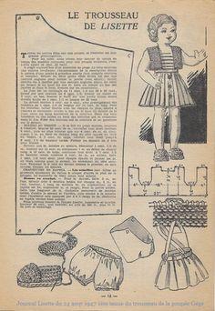 Doll Dress Patterns, Doll Sewing Patterns, Kids Patterns, Sewing Dolls, Vintage Patterns, Antique Dolls, Vintage Dolls, Vintage Sewing, Laine Rico