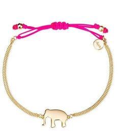 Silver Pink or Yellow Wishing Bracelet with Elephant, Arrow or U Charm