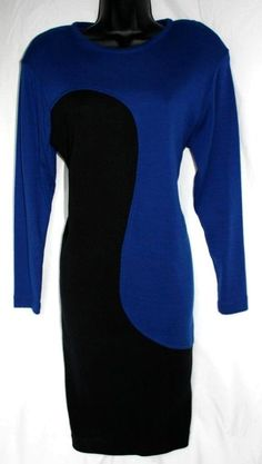 Get it at Bad Reputation! Vintage 1980s R&K Originals Blue & Black #Knit #Dolman Sleeve #Dress - Small Med #RKOriginals #KnitDress #RetroDress #DolmanSleeves #BlueBlack #ColorBlock #Swirl #TotallyAwesome #Rad