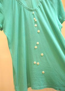 "Stitch A Prayer: ""Mistake Equals Detail"" A little cascade of buttons disguises tiny holes in the tee!"