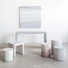 Brooklyn artist Fernando Mastrangelo has used cement to create a range of furniture with subtle patterns and pastel colours