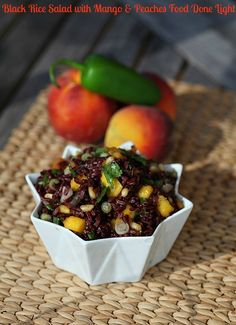 Black Rice Salad with Mango  Peaches www.fooddonelight.com