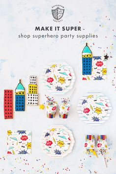 Planning a superhero party? Make it super with our collection of superhero party supplies! Superhero Party Supplies, Superhero Invitations, Kids Birthday Party Invitations, Superhero Birthday Party, Fourth Birthday, 4th Birthday Parties, Boy Birthday, Birthday Ideas, Superhero Baby Shower