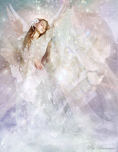 Angel in white and pastel colors, heaven, heavenly, pretty prophetic art, flower, wings, stars, glitter, sparkle, worship, God, Holy Spirit, dove, Please also visit www.JustForYouPropheticArt.com for colorful inspirational Prophetic Art and stories. Thank you so much! Blessings!