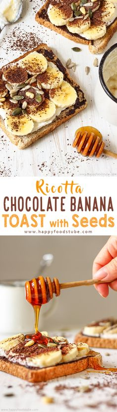 Ricotta chocolate banana toast with seeds will keep you going until lunchtime. This nutrient rich whole wheat toast is a perfect healthy breakfast option via @happyfoodstube