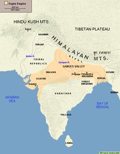 Map of India: The Gupta Empire Ap World History, History Of India, History Facts, Ancient History, Study History, India World Map, India Map, Geography Map, Gernal Knowledge