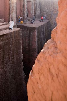 One of the churches that were hewn out of the rocks at Lalibela, Ethiopia in the 12th and 13th centuries