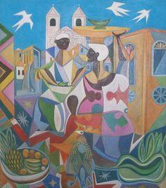 Pintura em Tela / Quadro Decorativo Releitura de As Baianas de Di Cavalcanti por Fredi Ambrogi. Técnica mista. Sob encomenda. ateliedofredi@gmail.com