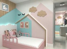 Gorgeous kids bedroom with houses on the wall Kids Bedroom Paint, Baby Bedroom, Baby Room Decor, Girls Bedroom, Bedroom Decor, Trendy Bedroom, Toddler Rooms, Kids Bedroom Ideas For Girls Toddler, Childrens Bedrooms Girls