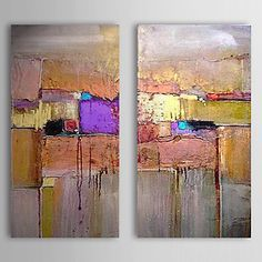 Hand Painted Oil Painting Abstract Bricks with Stretched Frame Set of 2 1311-AB1037 – AUD $ 106.24