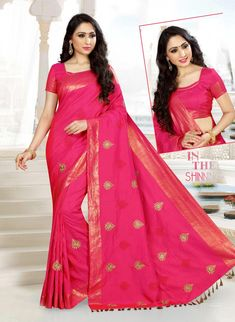 Pink Traditional Embroidered Raw Silk Saree with Blouse Material, Saree material raw silk crafted with self and multi color thread embroidery design along with zari weeved border and Dupion Silk designer blouse material.