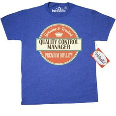 Inktastic Quality Control Manager Funny Gift Idea T-Shirt Retired Occupations Job Premium Vintage Logo Clothing Classic Career Mens Adult Apparel Tees T-shirts Hws, Size: XXL, Blue