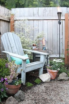 Backyard seating for one in a small corner, but nice decorative feel