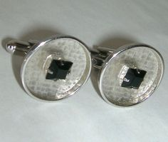 Cuff Links  Silver Tone with Black Glass Stone Setting | Jewelry & Watches, Men's Jewelry, Cufflinks | eBay!