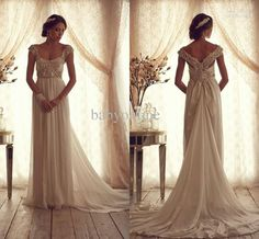 Wholesale A-Line Wedding Dresses - Buy Summer Beach Chiffon A-line Bridal Gowns Off-the-shoulder Cap Sleeves Backless Empire Vintage Wedding Dresses with Sequins Beads Bow BO2234, $199.99 | DHgate