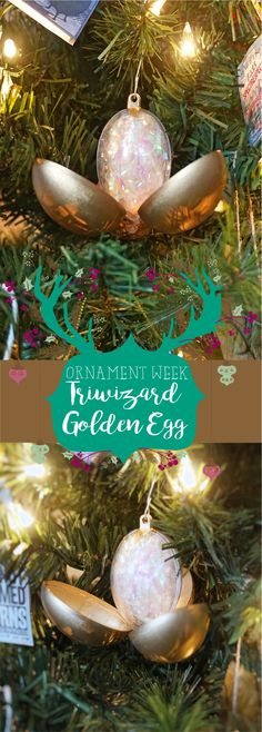 Ornament Week: Triwizard Tournament Golden Egg – A Gypsy Life For Me Harry Potter Christmas Decorations, Harry Potter Ornaments, Harry Potter Christmas Tree, Hogwarts Christmas, Diy Christmas Ornaments, Holiday Crafts, Christmas Time, Harry Potter Golden Egg, Harry Potter Day