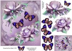 Pretty Roses and Butterflies on Craftsuprint designed by Karen Wyeth - A pretty roses with butterflies quick card topper. Additional rose decoupage and butterfly embellishments are also included on the design sheet. xk - Now available for download!