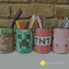 Minecraft Desk Tidy DIY (Printables) – Red Ted Art - Minecraft World Minecraft Pinata, Minecraft Room, Minecraft Crafts, Mine Minecraft, Minecraft Skins, Minecraft Buildings, Desk Tidy Diy, Minecraft Bedroom Decor, Minecraft Furniture