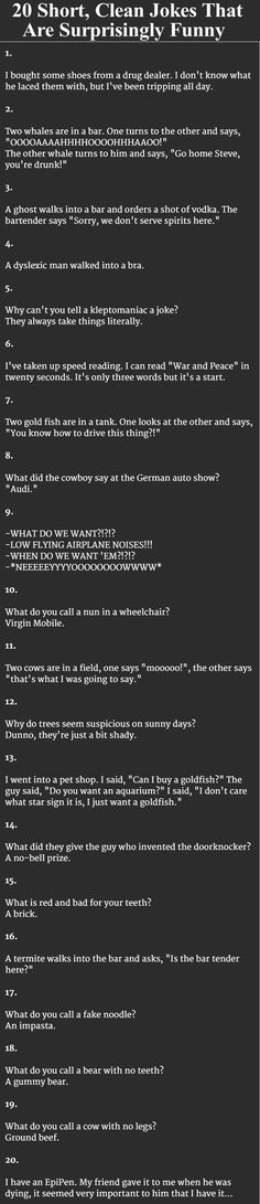 20 Short, Clean Jokes That Are Surprisingly Funny Pictures, Photos, and Images for Facebook, Tumblr, Pinterest, and Twitter