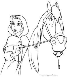 Belle and her horse, Beauty and the Beast color page, disney coloring pages, color plate, coloring sheet,printable coloring picture