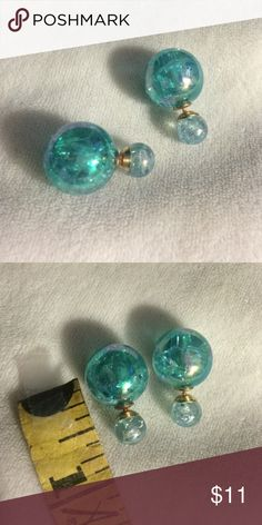 DOUBLE STUD EARRINGS New; never worn; broken glass look; teal Jewelry Earrings