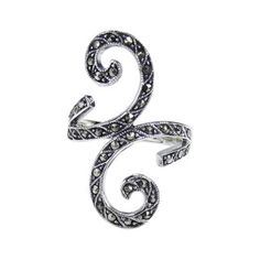 Beautiful Marcasite Front Swirl .925 Silver Ring (Thailand) - 15991687 - Overstock - Great Deals on Aeravida Rings - Mobile