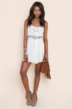 Vintage inspired white ivory lace dress.