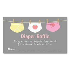 Encourage guests to bring diapers for a chance to win a prize with this adorable raffle ticket design. It includes 3 cute baby diaper designs hanging on a clothesline with wooden pegs. The pastel colours work great on the grey background. The cute diaper raffle tickets are perfect for a fun baby shower activity. #girl #baby #shower #baby #girl #shower #baby #shower #baby #girl #clothes #pastel #grey #it's #a #girl #diaper #raffle #diaper #raffle #tickets #baby #shower #raffle #elegant ...