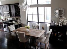 Veronika's Blushing: Home Updates: Restoration Hardware Curtains for the Kitchen & Dining Room Chandelier