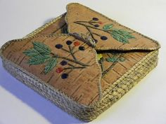 "Blueberry Quilled Birch Bark Trinket  or envelope box,  approx. 6""x6"" by 1"" deep by Monica Alexander (Metis, Canadian and Micmac) of hfmade on Etsy"