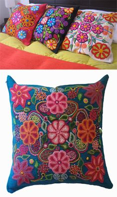 Mexican embroidered pillows