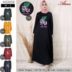 Pusat Grosir Baju Wanita | Baju Gamis Remaja Aloha Black, Muslim, Surabaya, Jakarta, Dan, Model, Dresses, Fashion, Vestidos