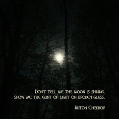 """""""Don't tell me the moon is shining; show me the glint of light on broken glass."""" ―Anton Chekhov  Photo/artwork: Full moon rising over the forest, May, 2015."""