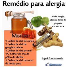 DICA: Remédio para alergia OBS.: 1- Na imagem onde diz 1 colher de chá de mel é = 1 colher de sopa de mel. 2- Tomar sempre fora do horário das refeições. 3- O pólen de abelhas pode ser adquirido em lojas de produtos naturais ou farmácias especializadas, mas pode ser substituído por própolis. https://www.facebook.com/pages/Chiquinha-Artesanato/345067182280566