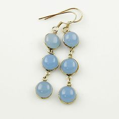 Genuine Blue Chalcedony Solid Sterling Earrings. Starting at $1 on Tophatter.com!