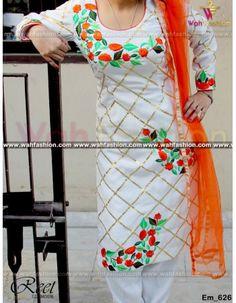 Adorable White And Orange Embroidered Punjabi Suit Buy Online Indian Salwar Suit, Punjabi Suits, Salwar Suits, Indian Clothes, Indian Outfits, Embroidery Suits, Embroidery Designs, Designer Suits Online, Kurti Patterns