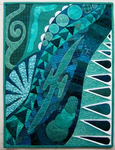 Doodles in Teal by  Diane Lapacek. Project Quilting 2013 challenge quilt, posted at Persimon Dreams