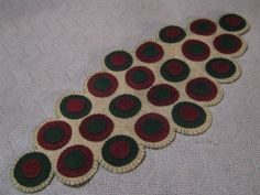 Primitive Christmas Scalloped Edges Layered  Penny Rug Table Decor Candle Mat  #NaivePrimitive #Seller