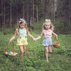 The cutest little Easter egg collectors I ever did see...  @up_in_the_imogenskye  #easter2016 #kidsfashion #besties #laceylaner #laceylane