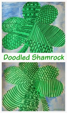 Doodled shamrock - Doodling fun for kids - sparklingbuds Saint Patricks Day Art, St Patricks Day Crafts For Kids, St Patrick's Day Crafts, March Crafts, Holiday Crafts, Holiday Ideas, Easy Crafts, Painting Activities, Craft Activities