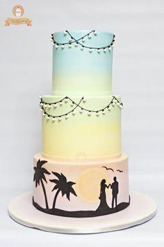 Pastel rainbow silhouette wedding cake - The Sweetery by Diana Silhouette Wedding Cake, Silhouette Cake, Pretty Cakes, Beautiful Cakes, Amazing Cakes, Sunset Beach Weddings, Sunset Wedding, Sunset Party, Fondant Cakes