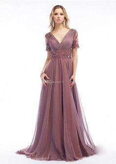 Wholesale 2015 new plus size mother of the bride dress is elegant gray v-neck unbacked formal evening dress floor length chiffon dress with short slee, Free shipping, $93.2/Piece   DHgate Mobile