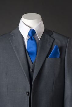 grey suit blue tie