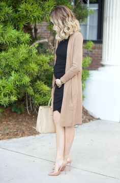 LBD AND MY FAVORITE CARDIGAN... A Spoonful of Style waysify - Maternity style