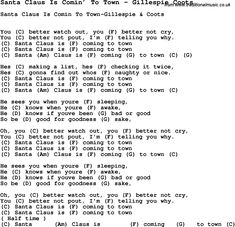 Song Santa Claus Is Comin' To Town by Gillespie Coots, with lyrics for vocal performance and accompaniment chords for Ukulele, Guitar Banjo etc.