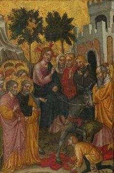 ZANINO DI PIETRO Entry of Christ into Jerusalem  - Tempera on panel, gold ground, 31 x 20 cm Private collection  First documented in Bologna from 1389, Zanino di Pietro there developed his naturalistic style and narrative aptitude. He moved to Venice before 1404, and along with Jacobello del Fiore and Niccolò` di Pietro, Zanino was to become one of the foremost painters in Venice in the early fifteenth century.